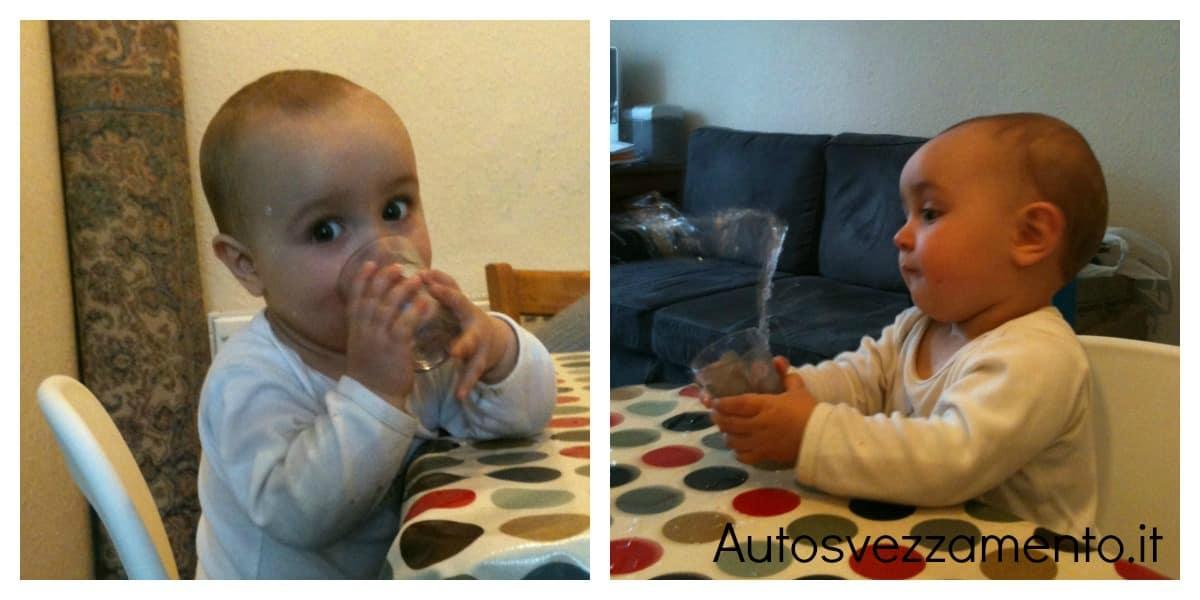 Bambina, 10 mesi, impara a bere da sola - autosvezzamento