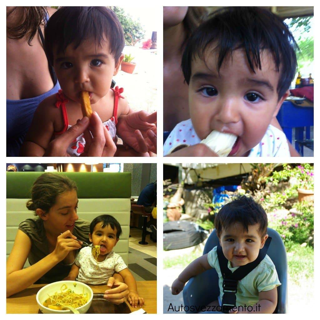 Bambina mangia Polinesia autosvezzamento
