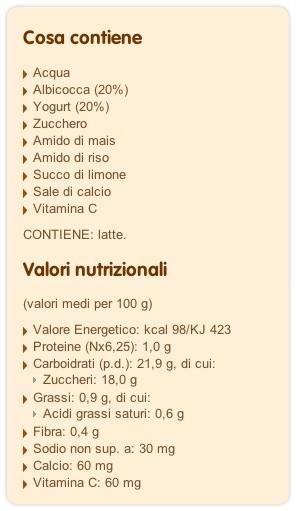 Merenda albicocca e yogurt Plasmon ingredienti Autosvezzamento