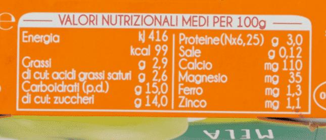 yogurtino Plasmon tabella nutrizionale
