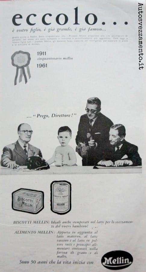 pubblicità, baby food, mellin anni 60