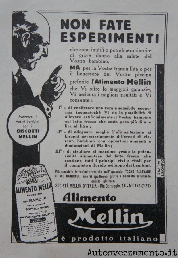 pubblicità, mellin, anni 20