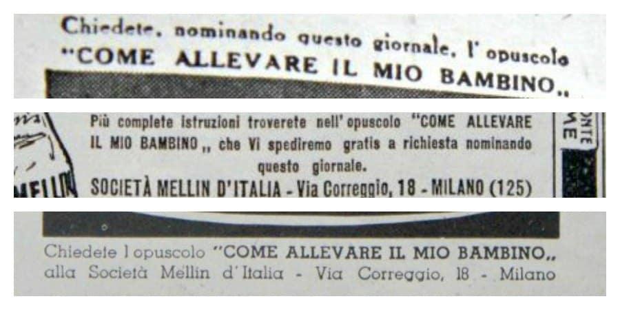 pubblicità, baby food, mellin, anni 30
