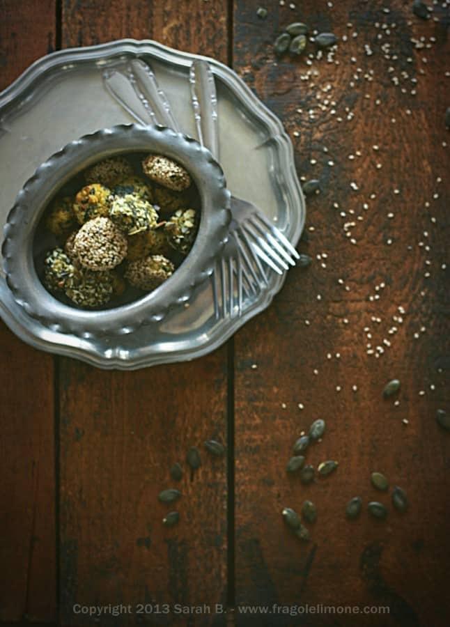 polpette, quinoa, spinaci, piselli, semi, svezzamento, autosvezzamento