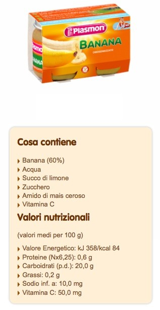 Omogeneizzato Plasmon Banana zuccheri