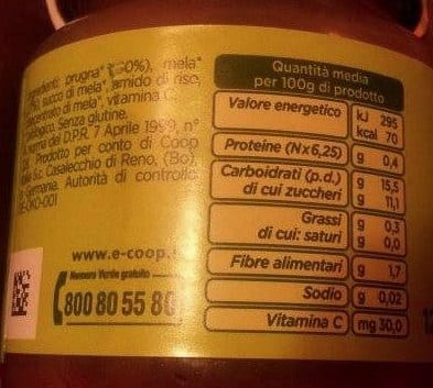 Omogeneizzato prugna e mela Coop zuccheri aggiunti
