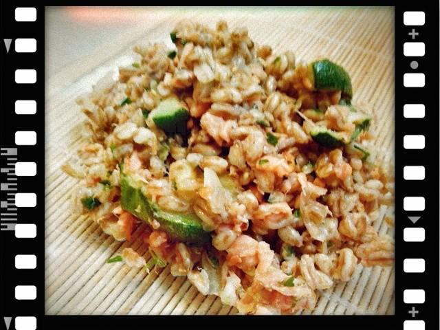 Farro, salmone, zucchine, autosvezzamento, svezzamento, ricetta