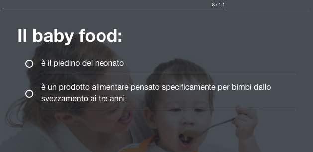 Test svezzamento baby food